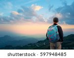 back of middle aged man... | Shutterstock . vector #597948485