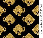 leopard face tattoo  ... | Shutterstock . vector #597949367