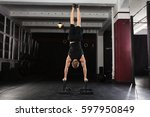 young athlete man doing... | Shutterstock . vector #597950849