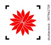 flower sign. vector. red icon...