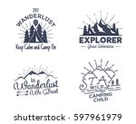 set of outdoors activity badges.... | Shutterstock . vector #597961979