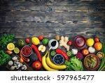 vegetables and fruits on a... | Shutterstock . vector #597965477