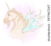 vanilla style pretty unicorn... | Shutterstock .eps vector #597967247