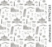italy travel doodle pattern... | Shutterstock .eps vector #597967265