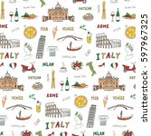 italy travel doodle pattern... | Shutterstock .eps vector #597967325