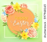 Easter Background With Round...