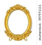 oval vintage gold picture frame | Shutterstock .eps vector #597971111