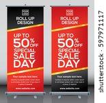 roll up brochure flyer banner... | Shutterstock .eps vector #597971117