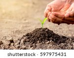 the young man's hands are... | Shutterstock . vector #597975431