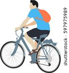 isolated male cyclist on... | Shutterstock .eps vector #597975989