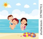 family playing game in the sea | Shutterstock .eps vector #597987911
