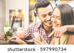 young fashion couple of lovers...   Shutterstock . vector #597990734