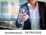 mobile apps internet of things... | Shutterstock . vector #597991505