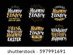 happy easter  greeting card.... | Shutterstock .eps vector #597991691