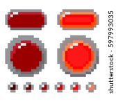 set of red pixel button design. ... | Shutterstock .eps vector #597993035