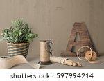 farmhouse scene front view ... | Shutterstock . vector #597994214