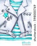 watercolor illustration.... | Shutterstock . vector #598000769