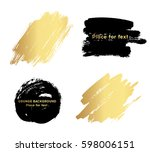 set of black paint  ink brush... | Shutterstock .eps vector #598006151