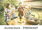 happy friends having fun... | Shutterstock . vector #598006469