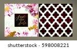 set of trendy wedding...   Shutterstock . vector #598008221