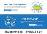 doodle web banners vector... | Shutterstock .eps vector #598015619