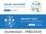 doodle web banners vector... | Shutterstock .eps vector #598015634