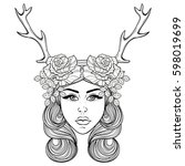 beautiful girl with deer's... | Shutterstock .eps vector #598019699