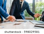 business people meeting hand... | Shutterstock . vector #598029581