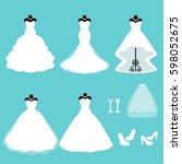 a set of wedding dresses.... | Shutterstock .eps vector #598052675