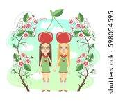 cute girls wearing cherry.... | Shutterstock . vector #598054595