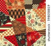 festive patchwork pattern in... | Shutterstock .eps vector #598058819