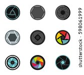 photography icons set. flat... | Shutterstock .eps vector #598061999