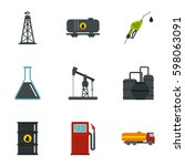 oil and gas industry icons set. ... | Shutterstock .eps vector #598063091