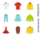 clothes icons set. flat... | Shutterstock .eps vector #598063535