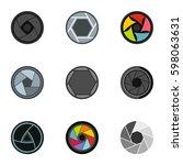 focus photo icons set. flat... | Shutterstock .eps vector #598063631