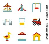 children playing elements icons ... | Shutterstock .eps vector #598064585