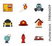 useful fire serivice icons set. ... | Shutterstock .eps vector #598064609