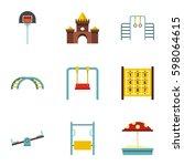 kindergarten playground icons... | Shutterstock .eps vector #598064615