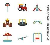playground equipment icons set. ... | Shutterstock .eps vector #598064669