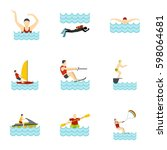 water activities icons set.... | Shutterstock .eps vector #598064681