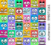 seamless square emoticons... | Shutterstock .eps vector #598071161