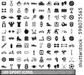 100 sport icons set in simple...   Shutterstock . vector #598075565