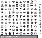 100 tea time food icons set in... | Shutterstock . vector #598075619