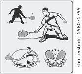 squash labels  emblems  badges  ... | Shutterstock .eps vector #598075799