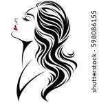 illustration of women long hair ...   Shutterstock .eps vector #598086155