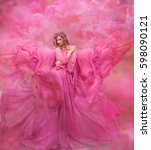 Stock photo glamorous photo girl in pink air dress 598090121