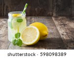 lemonade drink in a jar glass... | Shutterstock . vector #598098389