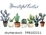 cactus in pots watercolor... | Shutterstock . vector #598102211