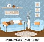 drawing of living room | Shutterstock .eps vector #59810380