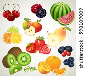 mixed fruit icon set | Shutterstock .eps vector #598109009